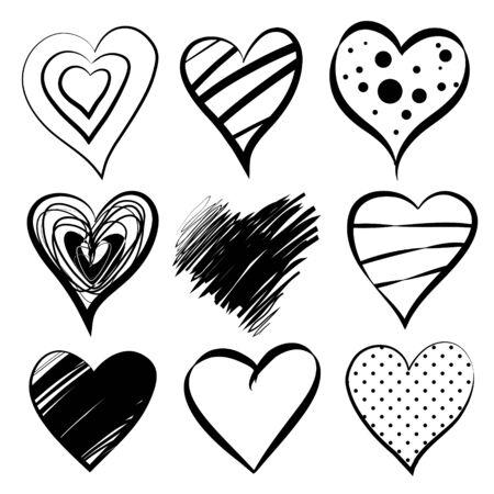 vector hearts: Set of 9 hearts  vector eps10