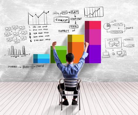 Concepto del gráfico del hombre de negocios de éxito Foto de archivo - 26466297