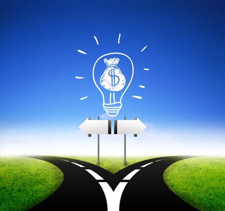 two way: Idea sign board standing at a crossroads Stock Photo