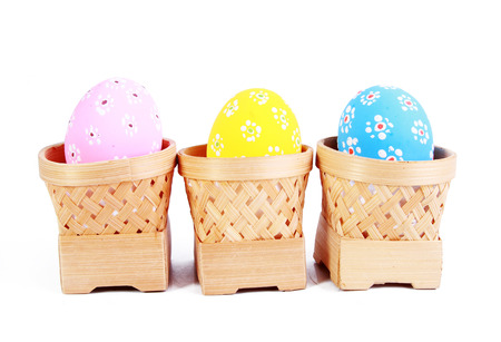 paper basket: Easter eggs background with elegant buckets