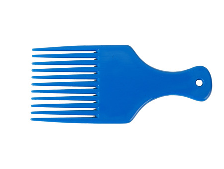 long handled: blue comb on white background Stock Photo