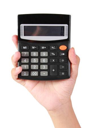 attractive hand holding calculator photo