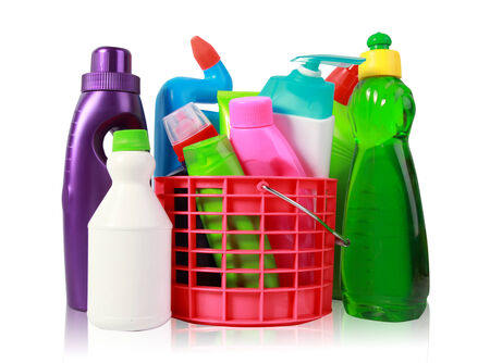 red gloves: Colorful cleaning products isolated over white Stock Photo