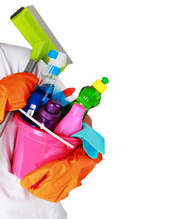 portrait of cleaning equipment isolated over white background
