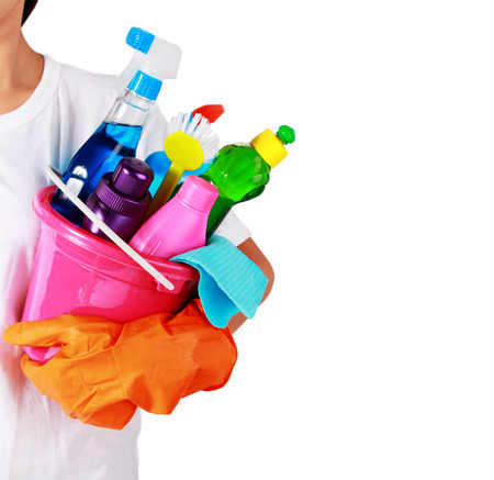 portrait of cleaning equipment isolated over white background photo