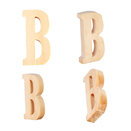 prinitng block: English alphabet  B - collage of 4 isolated vintage wood