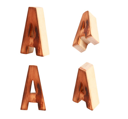 prinitng block: English alphabet  A - collage of 4 isolated vintage wood