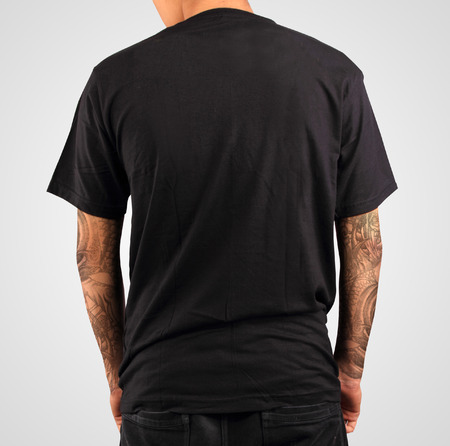 short back: black t-shirt template