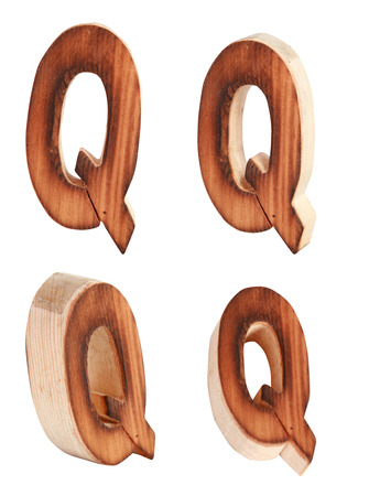 prinitng block: English alphabet  Q - collage of 4 isolated vintage wood