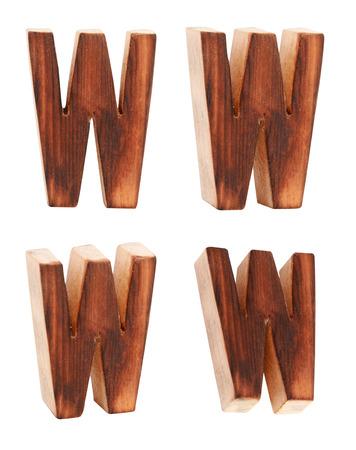 prinitng block: English alphabet  W - collage of 4 isolated vintage wood