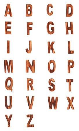 prinitng block: complete English alphabet - collage of 26 isolated vintage wood