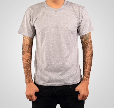 isolated on gray: grey t-shirt template