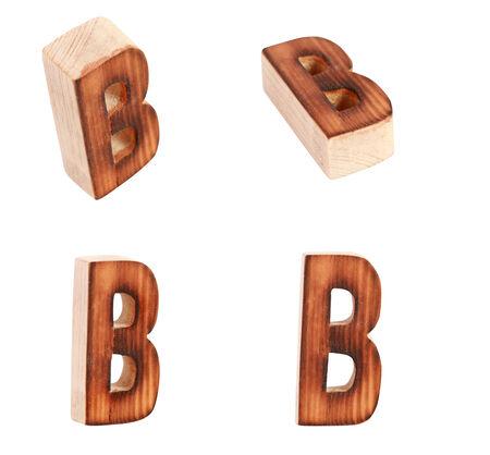prinitng block: English alphabet  B - collage of 4 isolated vintage wood