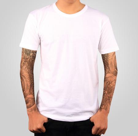 白い t シャツ テンプレート 写真素材