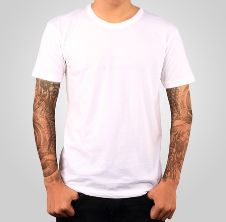 isolated on gray: white t-shirt template