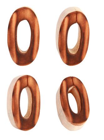 prinitng block: English alphabet  O - collage of 4 isolated vintage wood