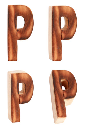 prinitng block: English alphabet  P - collage of 4 isolated vintage wood Stock Photo