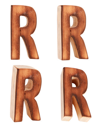 prinitng block: English alphabet  R - collage of 4 isolated vintage wood