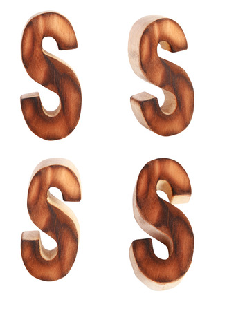 prinitng block: English alphabet  S - collage of 4 isolated vintage wood Stock Photo