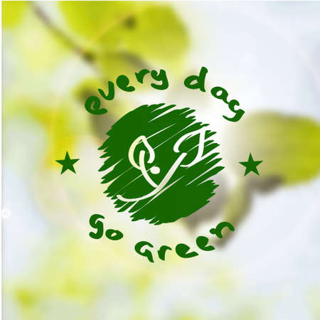 go green icons: Nature background for go green