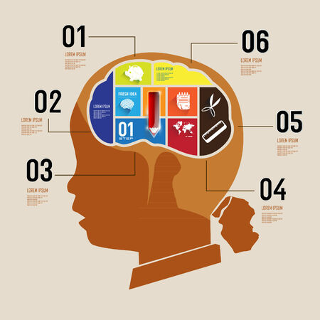rationality: infographic Template with Head puzzle Illustration