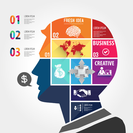 infographic Template with Head jigsaw banner   concept Vector