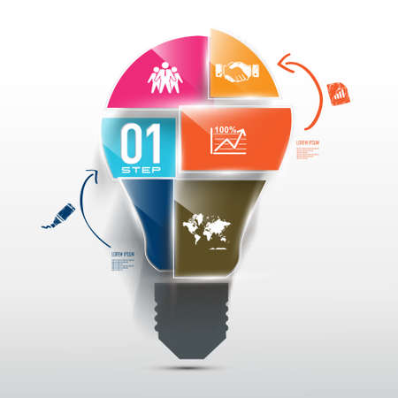 market research: Concept of light bulb surrounded by business icons