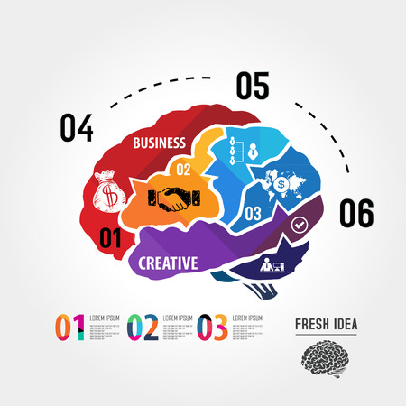Puzzle in the form of abstract human brain surrounded infographic business Vector