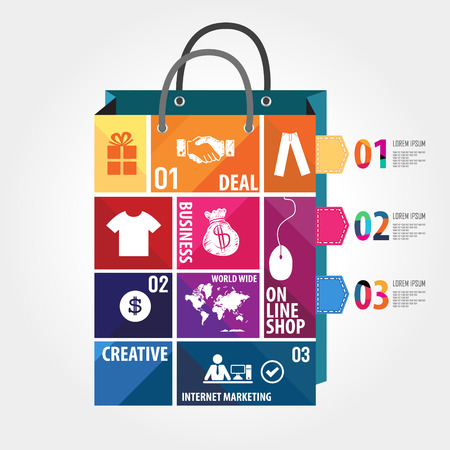 E-commerce infographic Template with bag, puzzle and interface icons Vector