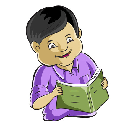bible study: Portrait of diligent student studying a book  Cartoon vector Illustration