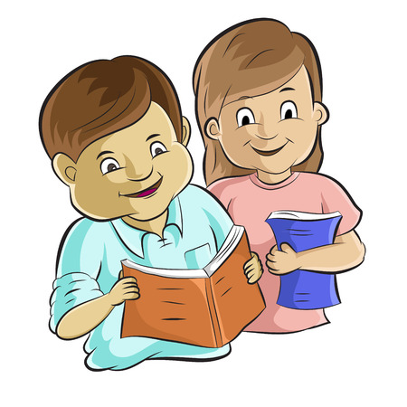 bible study: Portrait of diligent students studying a book  Cartoon vector