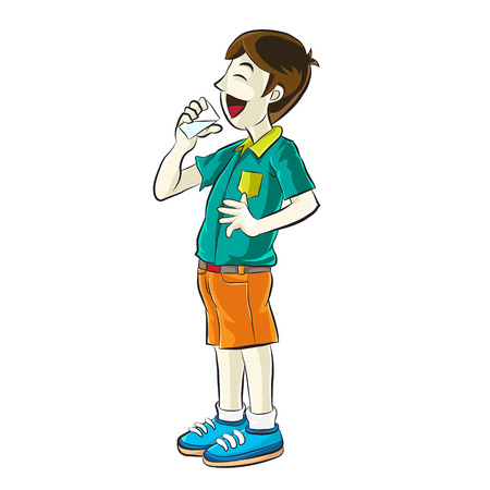 man drinking water: Portrait of teenager drinking a water  Cartoon vector