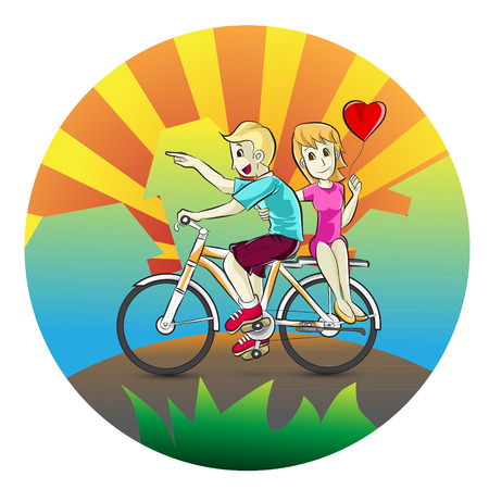 human settlement: Couple falling in love with riding a bike  Cartoon vector