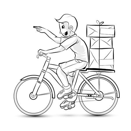 consign: Portrait of men delivering some package  Outline vector concept  Cartoon vector