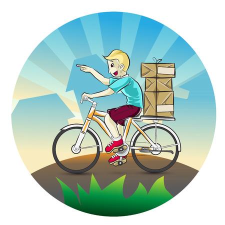 package deliverer: Portrait of men delivering some package  Cartoon vector