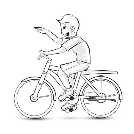 Portrait of  happy cartoon teenager riding a bike Vector