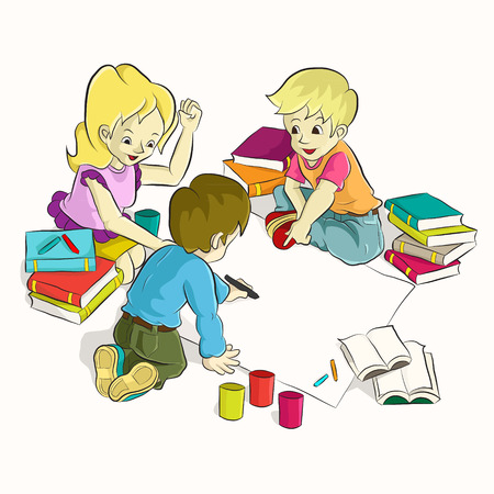 Diligent students doing their homework together  Cartoon vector Vector