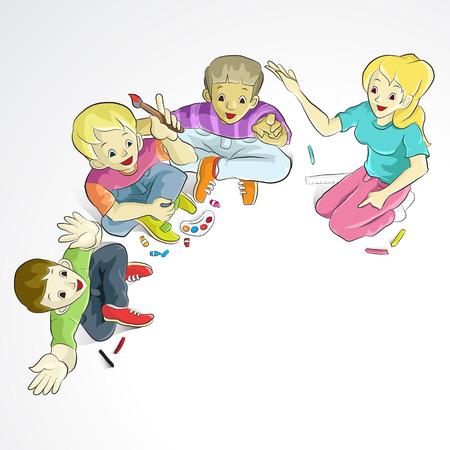 happy teenagers: Happy teenagers studying together  Cartoon vector