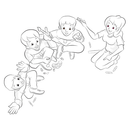 Diligent student doing their homework with mother and father  Cartoon vector Vector