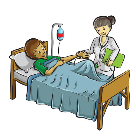 sick people: doctor helping a patient Illustration
