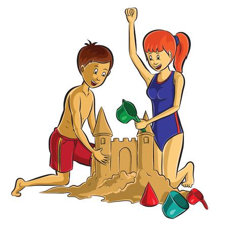 castle sand: adolescente haciendo la arena en la playa Castillo