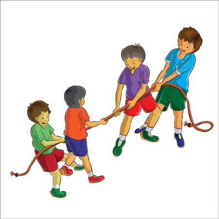 group of teens playing rope Vector