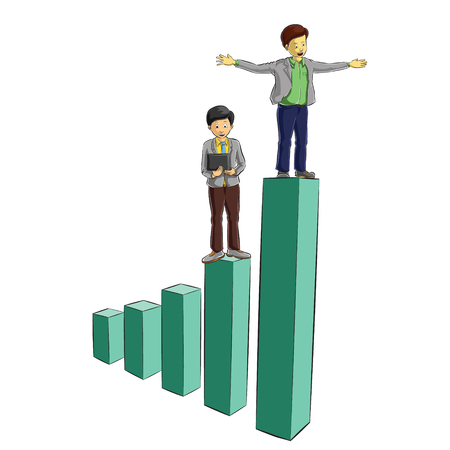 gold en: businessman stand on top of diagram chart