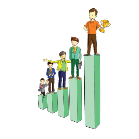 pinnacle: wzrost biznesmen na wykresie i koncepcji rysunku