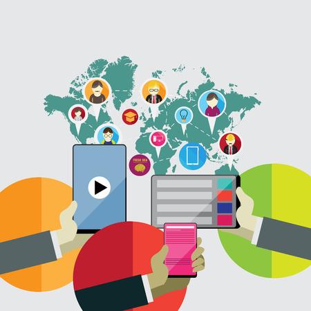 웹, 모바일 서비스 및 애플 리케이션을위한 평면 설계 개념 아이콘