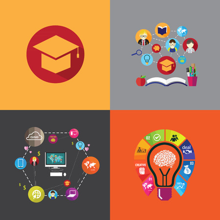 retraining: flat design concept icons for education Illustration