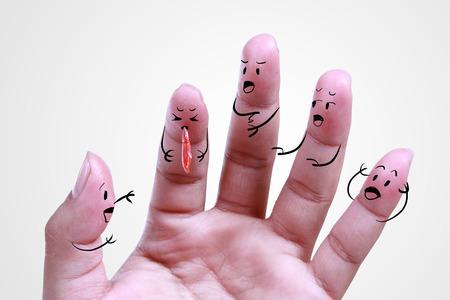 sick human finger , symbol of health photo