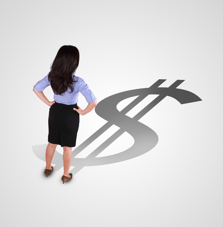 business woman standing with different direction shadow photo