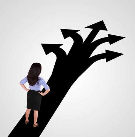 business woman standing with different direction photo