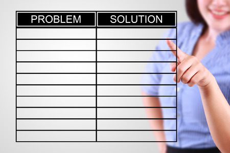 collate: business woman designed problem and solution list